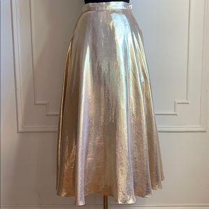 Vintage Farinae Gold High Waist Maxi Skirt